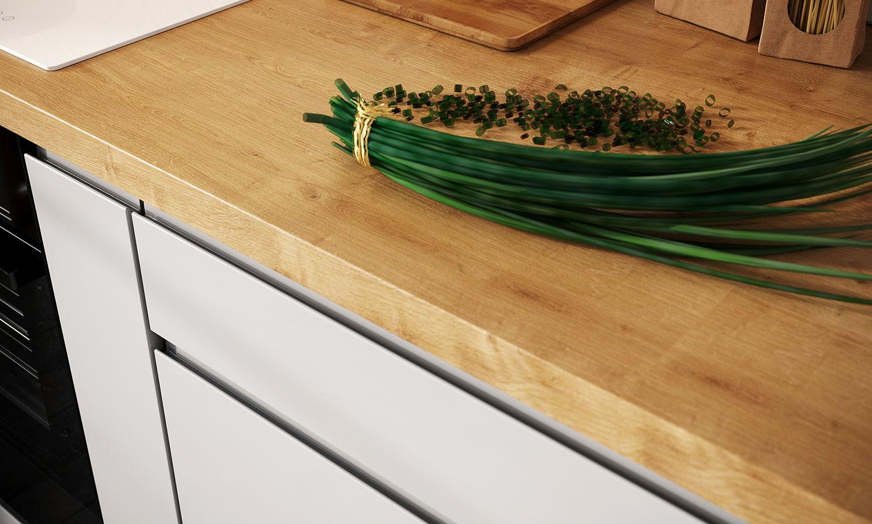 biała kuchnia drewniany blat - Nina