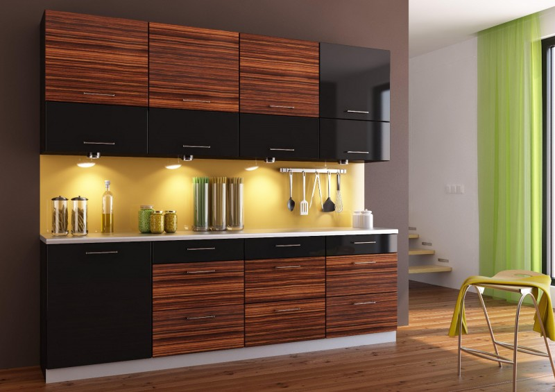 Интерьер кухни зебрано фото