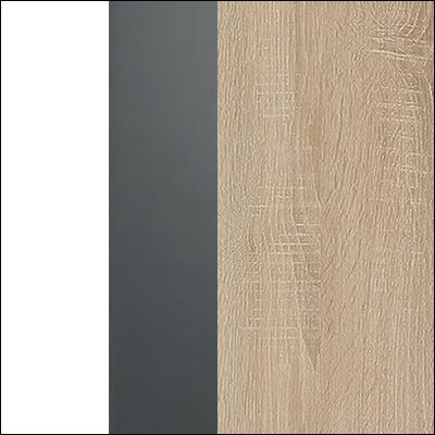 Biały połysk/grafit (fronty) + Dąb Sonoma (korpus)