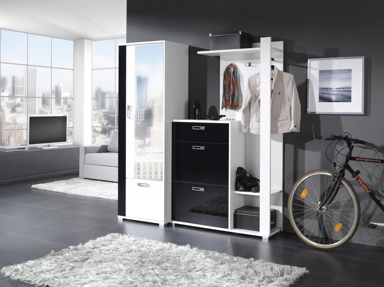 kleiderschrank new fox wei schwarz gl nzend. Black Bedroom Furniture Sets. Home Design Ideas