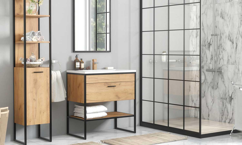 Łazienka biało-szara z drewnem