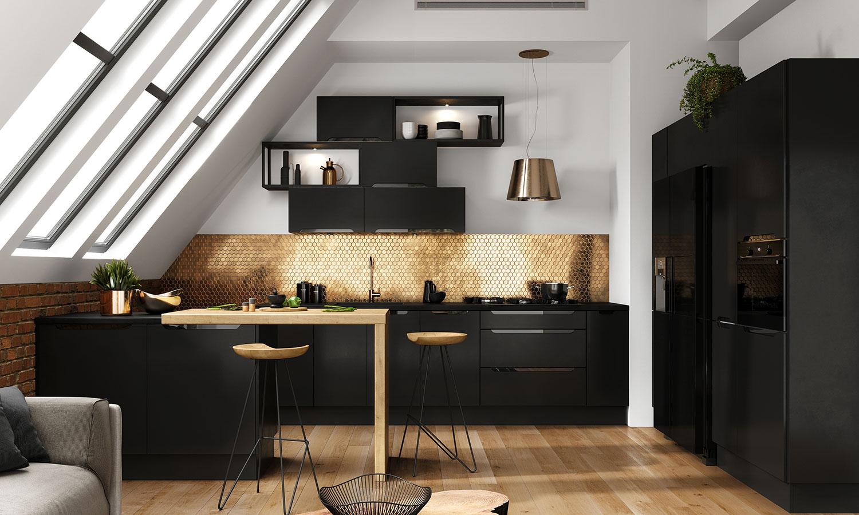 Nowoczesna kuchnia czarna z drewnem
